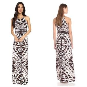London Times Size 12 Wood Stamp Printed Maxi Dress